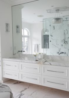full wall mirror with floating vanity - The Cross Decor & Design - bathrooms - marble bathroom, white marble bathroom, master bathroom, frameless bathroom mirror, faucets on mirror. Bathroom Renos, Bathroom Flooring, Bathroom Interior, Bathroom Wall, Bathroom Lighting, Light Bathroom, Vanity Bathroom, Bathroom Modern, Marble Interior