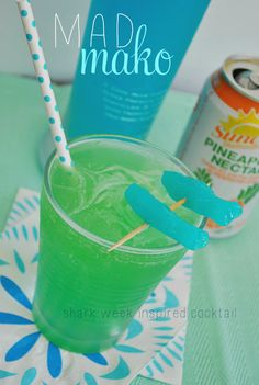 YUM! This fruity cocktail combines pineapple, coconut, and fruity liquor for an unbelievable beachy drink! Called a Mad Mako, it is totally inspired by Shark Week!