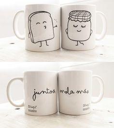 "Imagen de Set de 2 Tazas Tostada + Mermelada ""Mas Juntos mola"" http://mrwonderfulshop.bigcartel.com/product/juntos-mola-mas#"