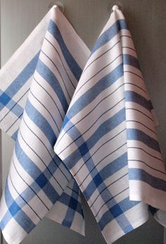 Linen Cotton Dish Towels striped Blue White Tea by Initasworks, $15.90