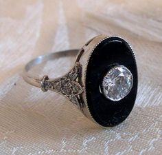 c1920 Art Deco Diamond, Onyx  18K / Platinum Ring
