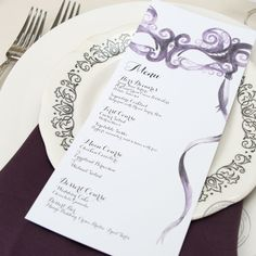 Have fun in style with these painted masquerade day of items. Menus, table numbers, place cards, escort cards. Any color!