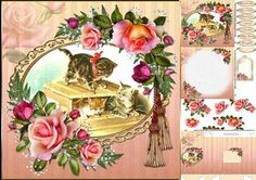 8x8 Vintage kitty fun mini kit on Craftsuprint designed by Carol Smith - a mini kit for the ladies has a vintage picture of three cute kittens playing in a box framed and decorated with beautiful roses co-ordinating tags say happy birthday, mother, daughter, grandmother, aunt, best wishes and thank you. The kit contains four sheets sheet 1 has the main topper and greeting tags, sheet 2 has the decoupage elements, sheet 3 has the insert plate and gift tag and sheet 4 has a matching gift ...
