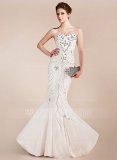 Trumpet/Mermaid Sweetheart Floor-Length Chiffon Prom Dress With Beading (018018910) - JJsHouse