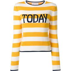 Alberta Ferretti striped Today sweater ($580) ❤ liked on Polyvore featuring tops, sweaters, white, white sweater, slogan top, relaxed fit tops, stripe top and white top
