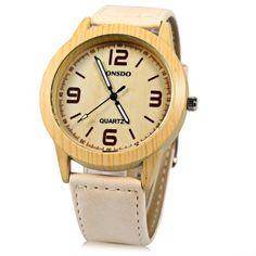 Llévalo por solo $14,500.Correa de cuero SONSDO 6635B unisex de cuarzo reloj de pulsera de madera del estilo.