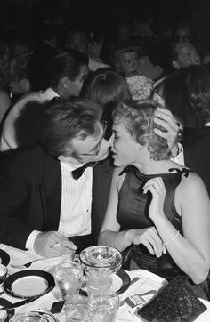 James Dean and Ursula Andress at Ciro's, 1st September 1955 (he died on the 30th…