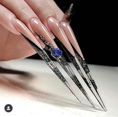 Crazy Nail Designs, Cute Acrylic Nail Designs, Black Acrylic Nails, Best Acrylic Nails, Really Long Nails, Long Stiletto Nails, Maroon Nails, Edge Nails, Exotic Nails