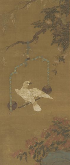 Chinese Art | A white cockatoo on a swinging perch | F1911.300