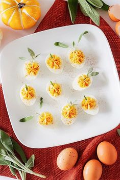 pumpkin shaped deviled eggs Fall Appetizers, How To Make Pumpkin, Little Pumpkin, Deviled Eggs, Fresh Lemon Juice, Pumpkin Puree, Fresh Herbs, Hot Sauce, Cheddar Cheese
