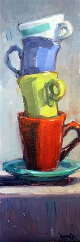 """Daily+Paintworks+-+""""Another+Stack""""+-+Original+Fine+Art+for+Sale+-+©+Cathleen+Rehfeld"""