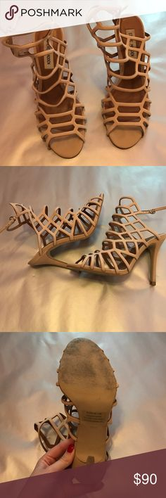 High heeled shoes Nude strappy Steve Madden high heels. They have only been worn one time. Super cute Steve Madden Shoes Heels