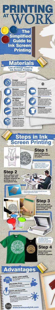 The Simplified Guide to Ink Screen Printing. Visit http://www.braincandyink.com/