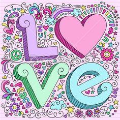 Valentine Love Notebook Doodles Set — Imagens vectoriais em stock