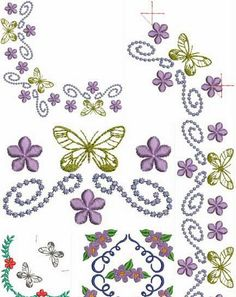 Dreams Free Embroidery: Butterflys and Flowers Corners Free Embroidery