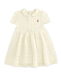 Cable-Knit+Dress,+Essex+Cream,+9-24+Months++by+Ralph+Lauren+Childrenswear+at+Neiman+Marcus.