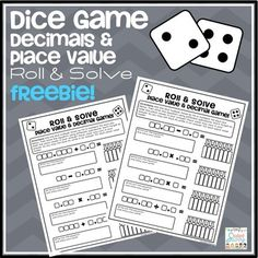 Math Dice Game Freebie - Roll & Solve Decimal Equations & Place Value