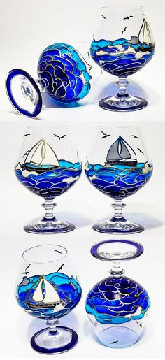 Hand painted wine glasses wedding gifts Brandy Glasses Beach Theme Wedding