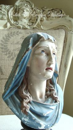 Antique French Virgin Mary Bust Statue Chalkware by edithandevelyn on Etsy