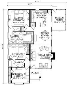 First Floor Plan of Contemporary   Craftsman   House Plan 57070