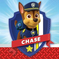 Paw Patrol beverage napkins with Chase, and is square when unfolded. Makes a perfect addition to your Paw Patrol puppy party tableware. Paw Patrol Png, Paw Patrol Clipart, Paw Patrol Badge, Paw Patrol Birthday, Boy Birthday, Escudo Paw Patrol, Personajes Paw Patrol, Imprimibles Paw Patrol, Care Bear Costumes