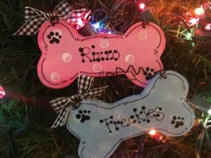 Dog Bone personalized ornament Pet pink or blue Christmas Holiday wooden craft…
