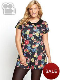 So Fabulous Floral Print Jersey Playsuit