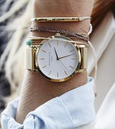 rosefield watch. details. bangles.