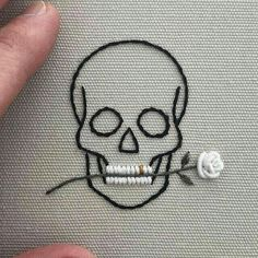 Simple looking embroidered skull and rose in teeth - . Simple looking embroidered skull and rose in teeth - Knitting , lace pro. Hand Embroidery Stitches, Embroidery Art, Cross Stitch Embroidery, Simple Embroidery, Sewing Stitches, Embroidery Patches, Embroidery Techniques, Ribbon Embroidery, Tumblr Embroidery