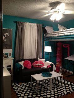 Teen room, tween room, bedroom idea, loft bed, black and white, teal, turquoise, hot pink, modern bedroom