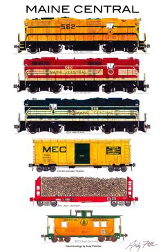 "An 11""x17"" poster with 6 of Andy Fletcher's hand drawings of MEC locomotives and rolling stock"