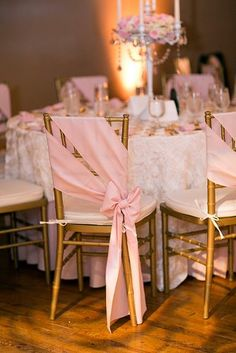 rose gold wedding decor golden chairs decorated with a pink cloth amanda marie