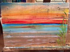 Ocean ,beach scape pallet art, nautical  reclaimed wood summer vacation beach house painting ,seascape ,island tropical sunset sunrise