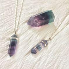 Rainbow Fluorite Necklace in Silver