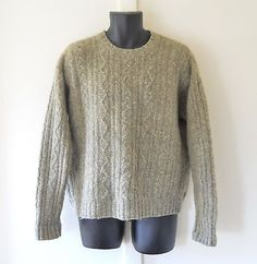 Thick Wool Sweater Men American Eagle Tan Size Large Pullover Crewneck Cableknit