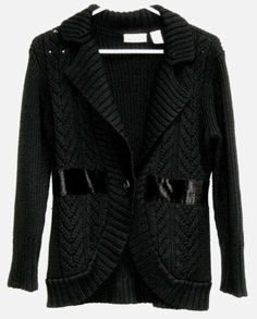 DKNY JEANS Black Sweater with Velvet Trimmed Waist Size M Ships Free in the USA  Price:US $24.99
