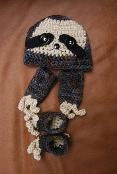 Newborn Crocheted Sloth Hat, Clawed Mittens, and Booties