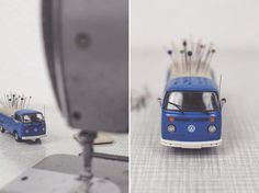 DIY Vintage Transporter Pin Cushion. Perfect for any sewing room or studio decor.