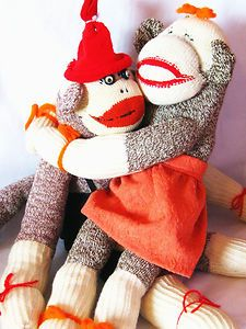 Vintage Sock Monkey Pair Happily Together after 39 years Handmade / Unique