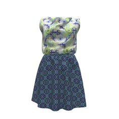 Colette Patterns Myrtle Dress made with Spoonflower designs on Sprout Patterns. Beautiful blues, greens and pinks are used in the Spiral Fantasy for the bodice and blue and green diamond plaid makes up the skirt.