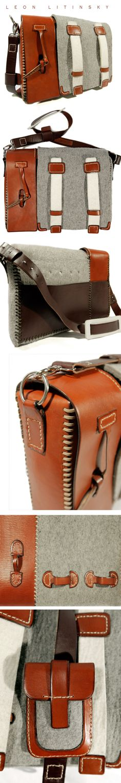 Leather & Wool Felt Bag, Wood Clasp With Attachable Matching Phone Case. Aluminum Frame.  Designed & Made by Leon Litinsky