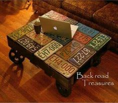 old license plates turned coffee table - would be great for a man cave! And I just happen to have SEVERAL old license plates hanging around. Old License Plates, License Plate Art, Licence Plates, License Plate Crafts, License Plate Ideas, Repurposed Furniture, Diy Furniture, Vintage Furniture, Homemade Furniture