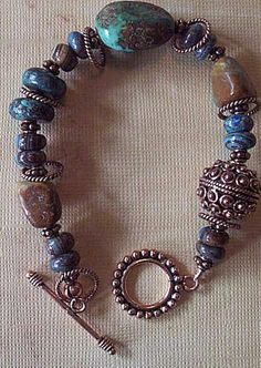 Turquoise bracelet  Copper accents  Chunky by PeacockFeathers, $30.00