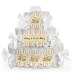 Zoo Crew - 3 Tier Personalized Square - Baby Shower Diaper Cake