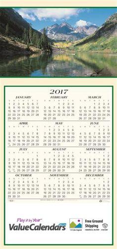 "2017 Mountain Vista Calendar | 7-3/4"" x 16-1/2""; 7-3/4"" x 5-1/2"" (Z-Folded) Customized Z-Fold Card Greeting Calendars, promotional business calendars, greeting card calendars, business gift calendars, custom year at a glance calendar, promotional products, business logo calendar, valuecalendars.com, mountain calendar, scenic view, lake and mountain calendars, advertising calendars, mailable calendar product, greeting card gift business holiday envelope calendars, 2017 calendar, full year…"