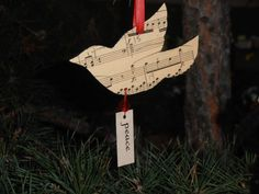Items similar to Peace Dove Vintage Music Ornament on Etsy