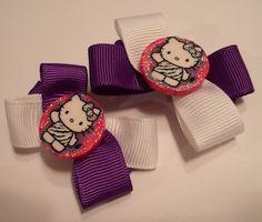 White and Purple Hello Kitty Hair Bow Set of 2   Jenstardesigns - Accessories on ArtFire