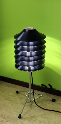 Floor Lamp From Upcycled Vinyl Records And Drum Stand