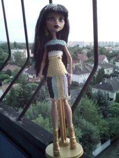 Cleo DeNile Monster High Doll Clothes, Monster High Dolls, Crochet Dresses, Crochet Clothes, Crochet Monster High, Chrochet, Beautiful Outfits, Barbie, Short Sleeve Dresses