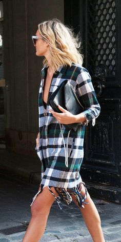Fall / Winter - street chic style - boho chic - green white and navy plaid fringe dress + black clutch + sunglasses + black booties